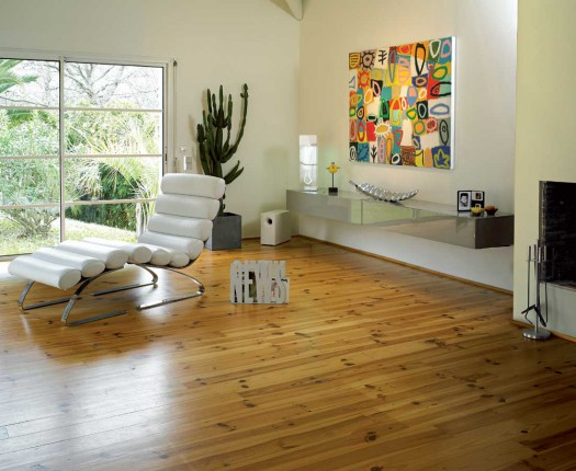 Untreated pine flooring